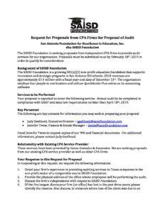 RFP for Auditors 2019 - SAISD Foundation